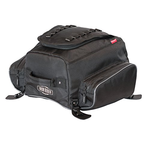 Dowco Iron Rider by 04979 Water Resistant Reflective Frenzy Motorcycle Tail Bag: Black, 16 Liter Capacity