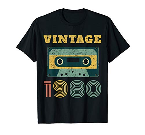 40th Birthday Gift Vintage 1980 Year Old Mixtape T-Shirt