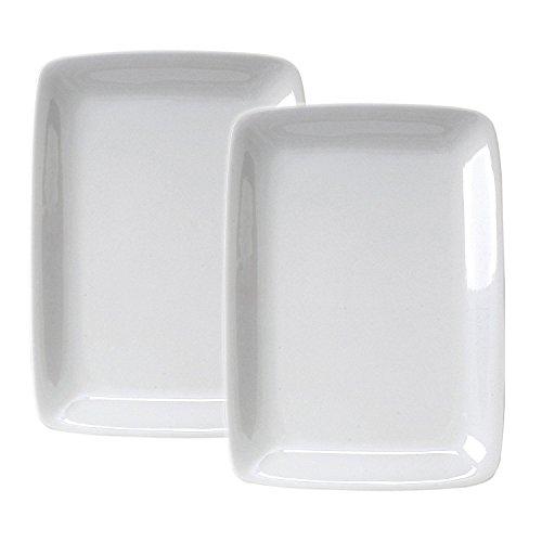 HIC Harold Import Co White Porcelain 8 x 12.25 Inch Rectangular Platter, Set of 2