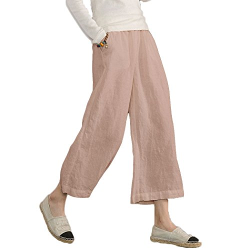 Ecupper Womens Casual Loose Plus Size Elastic Waist Cotton Trouser Cropped Wide Leg Pants Pink, 3XL(US 18 )