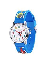 Boys Waterproof Watches - 3D Cartoon Cute Sport Watch - Quartz Analog Little Toddlers Silicone Wristwatches Time 5-12 Year Child - Copter