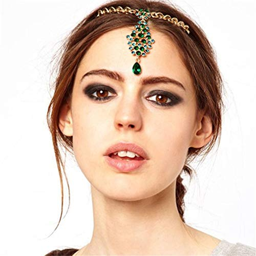 Bride Hair Pin Green Crystal Rhinestone Head Chain Wedding Headpiece Indian Forehead Hair Jewelry Women