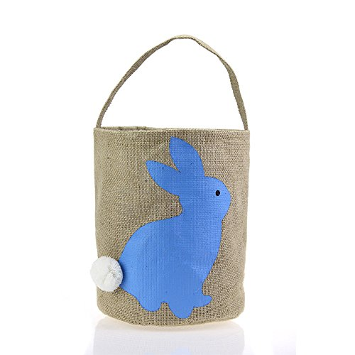 Easter Basket for Kids Bunny Bag for Easter Hunt (Blue)