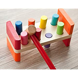 Joyshare Pounding Bench Wooden Toy with Mallet hammering Block Punch and Drop Instruments