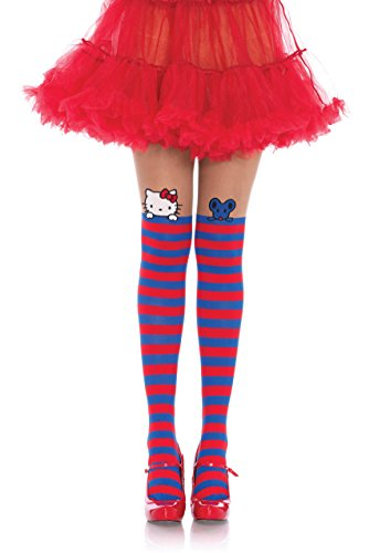 Leg Avenue Women's Hello Kitty and Joey Spandex Opaque Striped, Blue/red, One Sizes Fit Most -