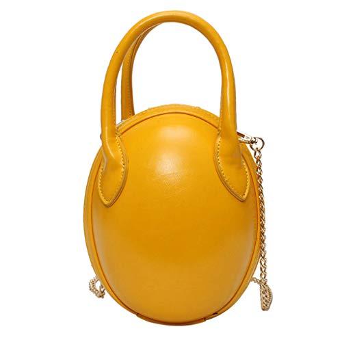 (LONGDAY  Women Crossbody Bags Egg Shape Leather Handle Bag Ladies Purse Summer Handbag Girls Shoulder Beetle Bag Yellow)