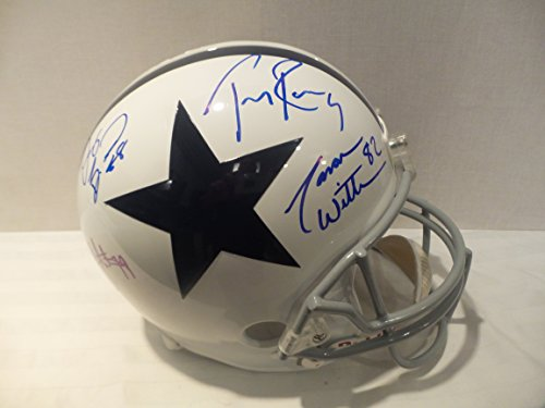 Tony Romo Jason Witten Dez Bryant Signed Dallas Cowboys Autographed Riddell Helmet Certified Authentic Autograph (Autographed Dallas Cowboys Authentic Helmet)
