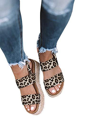 Women's Flatform Espadrilles Ankle Buckle Open Toe Slingback Animal Print Faux Leather Sandals (7 B(M) US, ()
