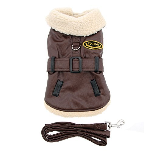 Doggie Design Chocolate Brown Soft Faux Leather Belted Bomber Jacket Harness with Leash in Dog Size X-Small (Chest 10-13, Neck 7-10, Pets Weighing: 3lbs.-5lbs.)