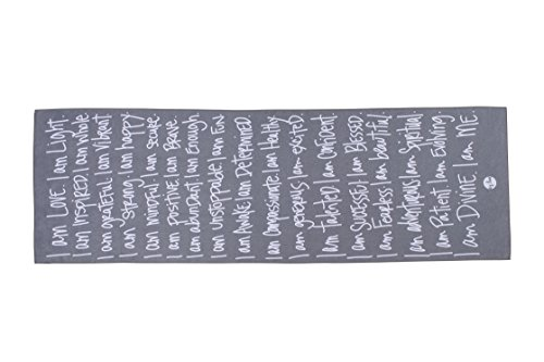 Mantra Inspired Professional Yoga Towel by aj love | Hand Designed | High Density (Grey - I Am)