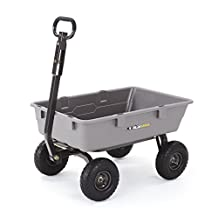 Gorilla Carts GOR5-COM Poly Garden Dump Cart with Steel Frame and 10-Inch Pneumatic Tires, 800-Pound Capacity, Gray