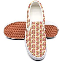 kjeqewfda Retro Popcorn Men's Designer Canvas Shoes Low Top Lightweight Canvas Sneaker Shoes