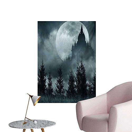 Anzhutwelve Halloween Wallpaper Magic Castle Silhouette Over Full Moon Night Fantasy Landscape Scary ForestGrey Pale Grey W24 xL36 Funny Poster]()