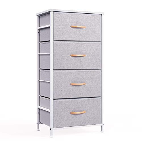 WeHome 4 Drawer Fabric Dresser Storage Tower, Organizer Unit for Bedroom, Closet, Entryway, Hallway, Nursery Room - Gray ()