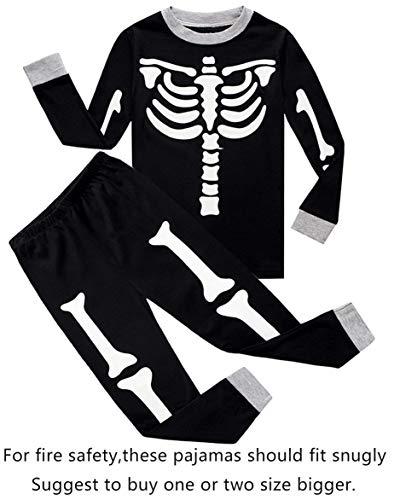 Choco Moon Pajamas for Skeleton Halloween Little Boys Long Sleeve Kids Pjs Size 7