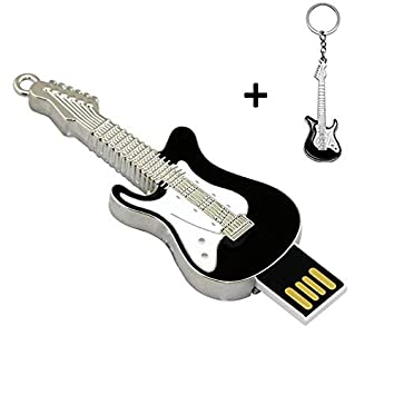 Lynneo guitarra eléctrica negra 16 GB memoria USB con un llavero de guitarra negro. Ideal como regalo: Amazon.es: Informática