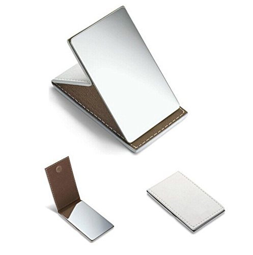 yueton Shatterproof Stainless Steel Ultrathin Folding Travel Mirror Makeup Mirror with PU Leather Case Cover for Personal Use, Camping, Travelling, Emergency Signaling ()