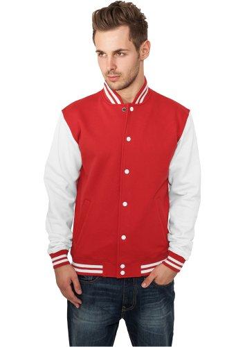 Veste - Blouson College hommes Urban Classics 2 Tone - Couleur rouge-blanc - Taille: XXL + Bandana gratuit