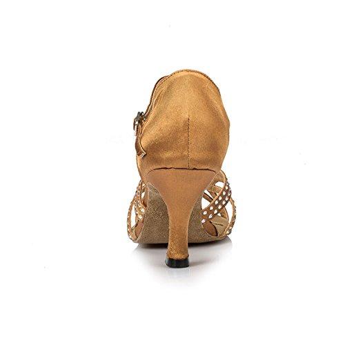 Ballroom Toe Shoes W135 Brown Women's Rhinestone Chunky Dance Peep Dance Latin Heel Shoesland Salsa Tango fzpxZ