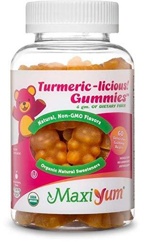 Maxi-Health Turmeric Curcumin Gummies - Herbal Supplement - 300mg Per Serving - USDA Certified Organic - Anti-Inflammatory Joint Relief & Anti-Aging Antioxidants - 60 Gummy Bears - Kosher
