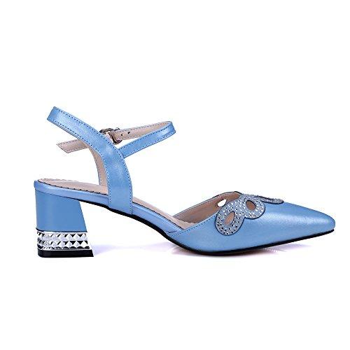 Nine Seven Cuero Puntiagudos Sandalias de Vestir de Tacón Grueso con Correa de Tobillo para Mujer Azul