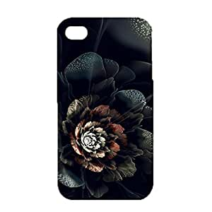 Iphone 4 4s Case,Wonderful Sparkled Flower Pattern 3D Premium Printed Slim Phone Back Case for Iphone 4 4s