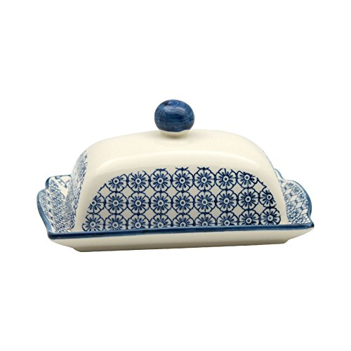 Patterned Butter / Margarine Dish with Lid - 185mm (7.3 inches) - Blue Flower Print