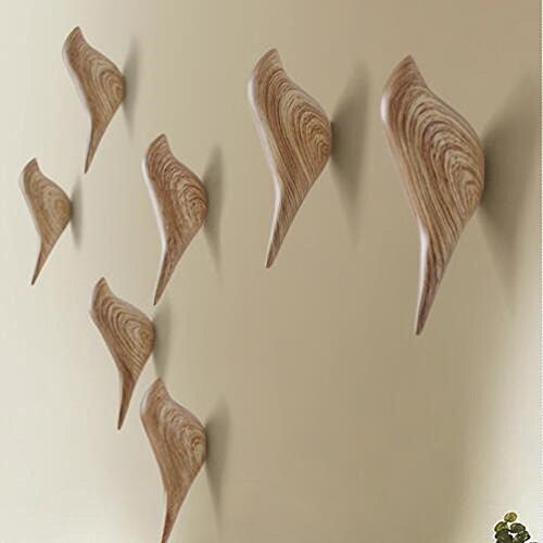 YOHEE 3D Creative Wall Decoration Bird Mural Bedroom Door Hooks Coat Hooks Single Hooks Wall Hanger (Wood - 3 Pcs) by YOHEE (Image #2)