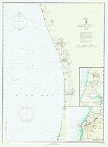 NOAA Historic Map |Lake Michigan | 1937 Nautical Chart |24in x 18in - Michigan Antique Map