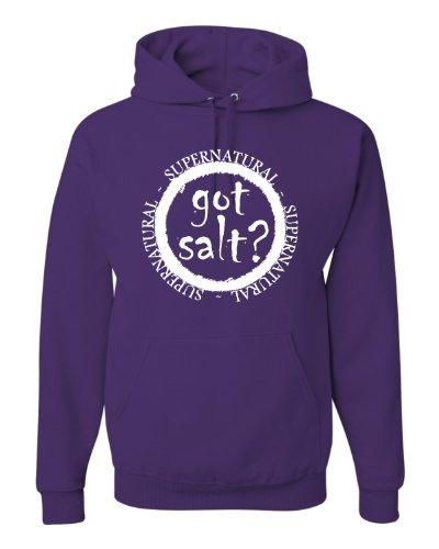Large Purple Adult Got Salt? Supernatural Sweatshirt Hoodie -