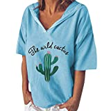 The Wild Cactus Print Women's Baggy Blouse Summer Short Sleeve Hooded Pullover V-Neck Tunic Sweatshirt