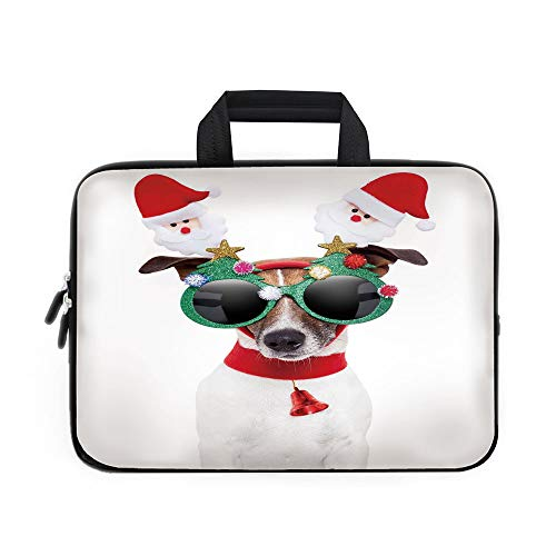 (Christmas Laptop Carrying Bag Sleeve,Neoprene Sleeve Case/Funny Puppy Jack Russel Dog with Hilarious Sunglasses Santa Figures and Bell/for Apple Macbook Air Samsung Google Acer HP DELL Lenovo AsusMult)