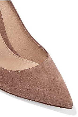 ELASHE Women High Heels Pumps | Pointed Toe Stiletto | 8cm Elegante Court Shoes Suede-Nude mh6Jrvr
