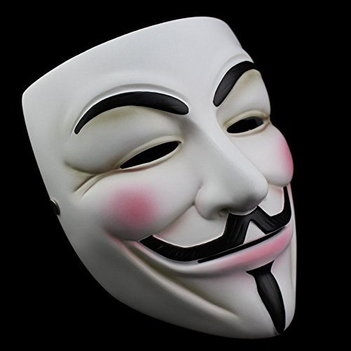 Smays V for Vendetta Guy Fawkes Similar Cosplay Mask Gift for Halloween Party, Masquerade, Stage Performance, Carnival and Bar (White, Polyresin Material, Hard (V For Vendetta Masks)