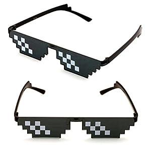 V.W.E. 2 Pairs Deal With It Glasses - Thug Life Unisex Black Sunglasses 8 Bit Pixel (6 dot)