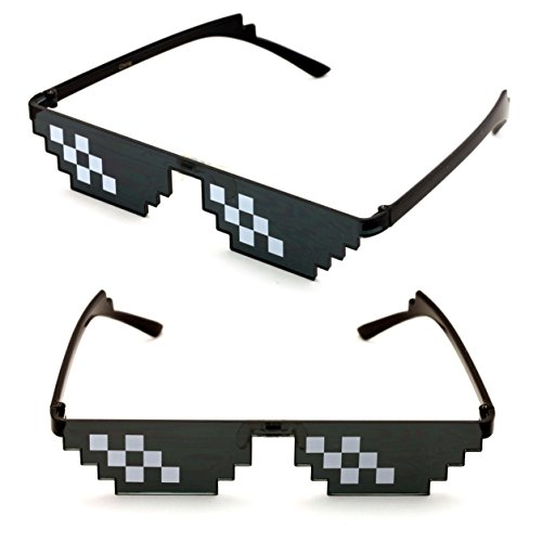 V.W.E. 2 Pairs Deal With It Glasses - Thug Life Unisex Black Sunglasses 8 Bit Pixel (6 - Thug Life Sunglasses