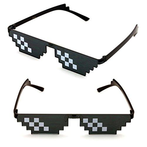 V.W.E. 2 Pairs Deal With It Glasses - Thug Life Unisex Black Sunglasses 8 Bit Pixel (6 - Glasses Deals