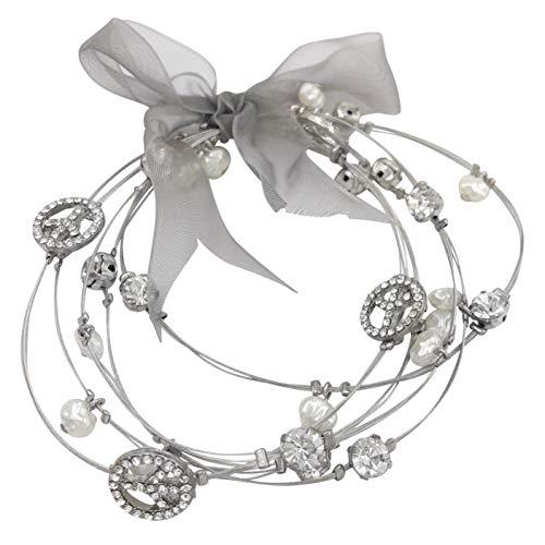 Gypsy Jewels Multi Strand Imitation Pearl Dangle Beads Illusion Wire Bangle Bracelets (Rhinestone Peace Sign)