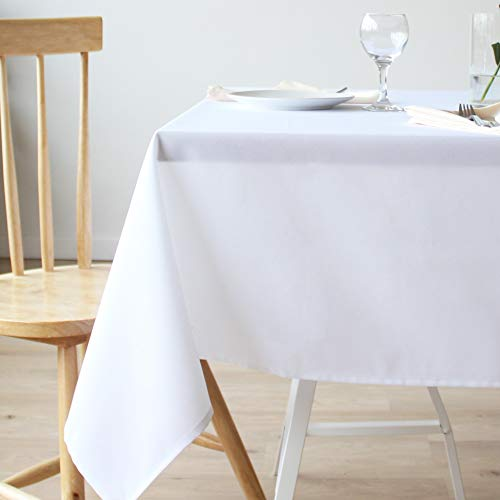 Stain Resistant White Rectangle Tablecloth Polyester Table Cover – For Kitchen Dining Room Washes Easily Non Iron – Thanksgiving Christmas New Year Eve dinner (WHITE plain, Rectangle 60″x84″)