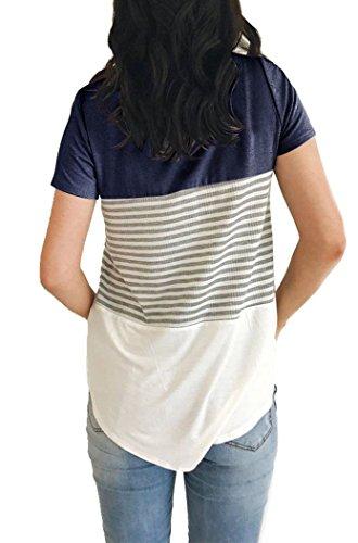 MOLERANI Women Stripe Color Block Knits T Shirts Short Sleeve Casual Cotton Tunic Tops(L, Navy Blue) by MOLERANI (Image #1)