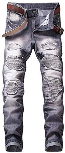 Strappato Fit hellgrau 10 Stonewash Giovane Uomo Dritto Coscia 6 Slim Distrutto Jeans Cher Denim Biker Pantaloni W42 Casual Classic W29 Buche R Marea Colori 5RwxSq4w6