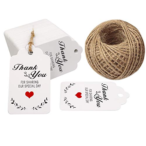Wedding Favor Tags,Thank You for Sharing Our Special Day Gift Tags,100 Pcs White Kraft Gift Tags with 100 Feet Jute Twine]()