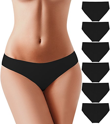 - BUBBLELIME Bikini Panties for Women Power Pure Stretch No Show Low Rise, (Set3) 6pack Black, Small