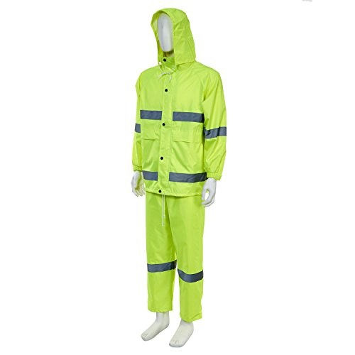 Joyutoy High Visibility Polyester Safety Reflective Rain Jacket Safety Suit Waterproof-All Weather, Construction, Motorcycle (Neon Yellow, XL) 1