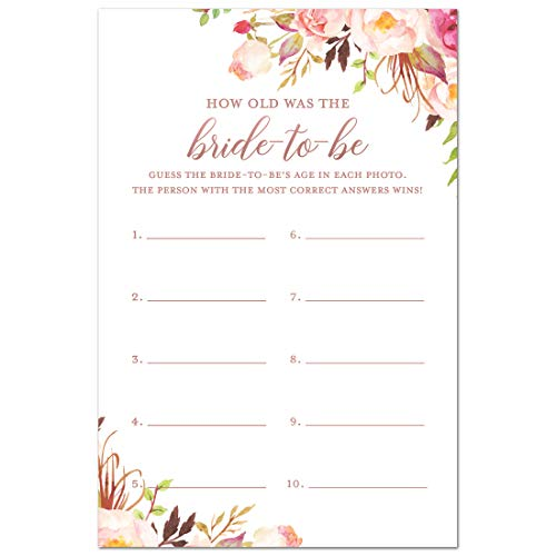 InvitationHouse 24 cnt Boho Floral How Old was The Bride-to-be Bridal Shower Game