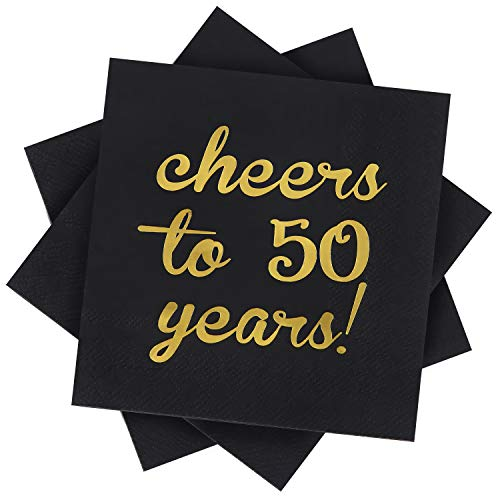 Elcoho 60 Pack Cocktail Napkins 50th Birthday Decorations Luncheon Napkins for Birthday, Anniversary Party Supplies, Cheers to 50 Years Design, 2 Layers, 5 by 5 Inches (Cheers to 50 Years) ()