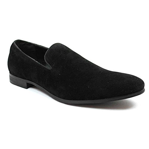 New Men's Black Suede Slip Loafers Modern Dress Shoes By Azar Man (10.5 U.S (D) MEDIUM) (Loafers Suede Slip)