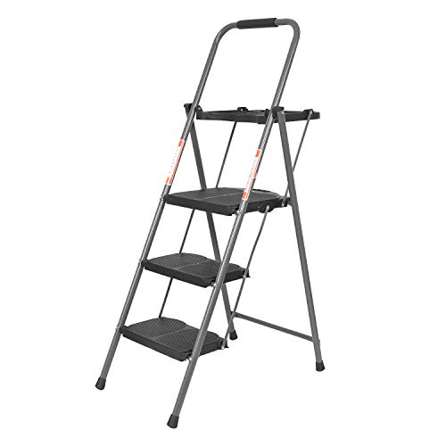 Bathla Boost Plus Foldable Steel Ladder with Anti-Slip Steps & Tool Tray (3 Step) Price & Reviews