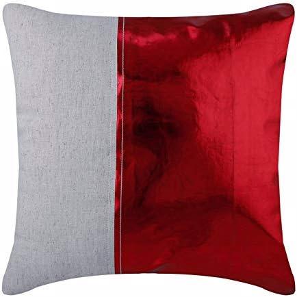 Diseñador rojo fundas de cojines, cuero metalizado Sabana de algodon fundas de almohadas, 50x50 cm funda cojin decorativos, Cuero de imitación cojines para sofas - Better Half Red: Amazon.es: Hogar