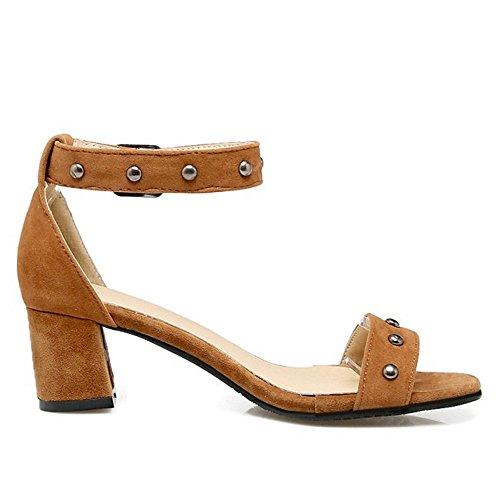 RAZAMAZA Mujer Retro Correa de Tobillo Sandalias Tacon Ancho Vestido Zapatos Marron
